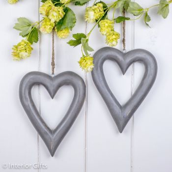 Two Decorative Wooden Grey Hanging Hearts - Medium