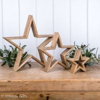 Three Decorative Rustic Wooden Standing Stars - Natural