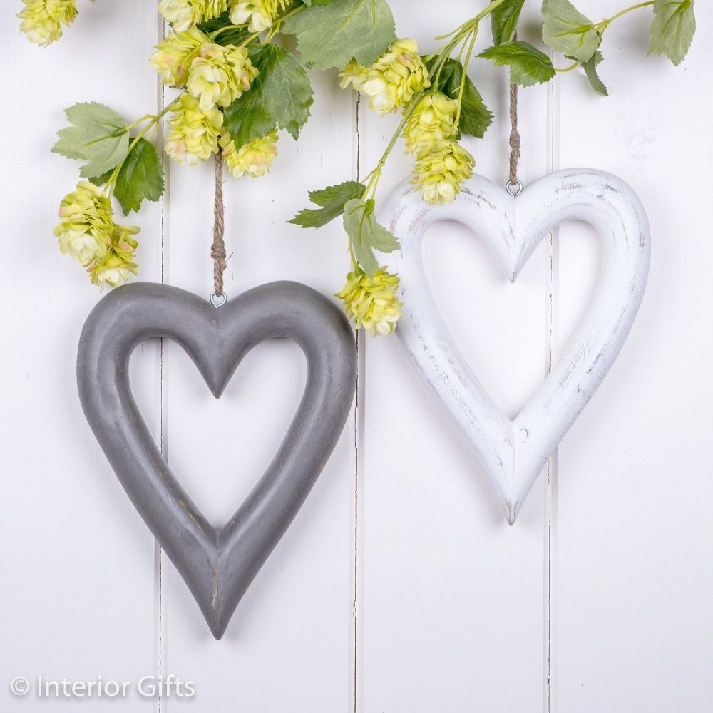 Two Decorative Grey & White Wooden Hanging Hearts - Medium