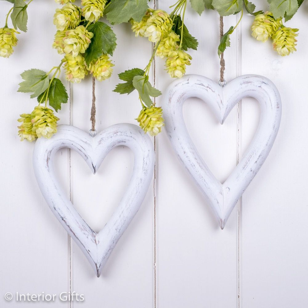 Two Decorative White Wooden Hanging Hearts - Medium