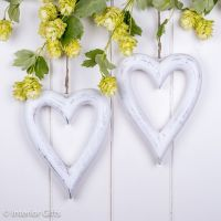 Two Decorative Wooden White Hanging Hearts - Medium