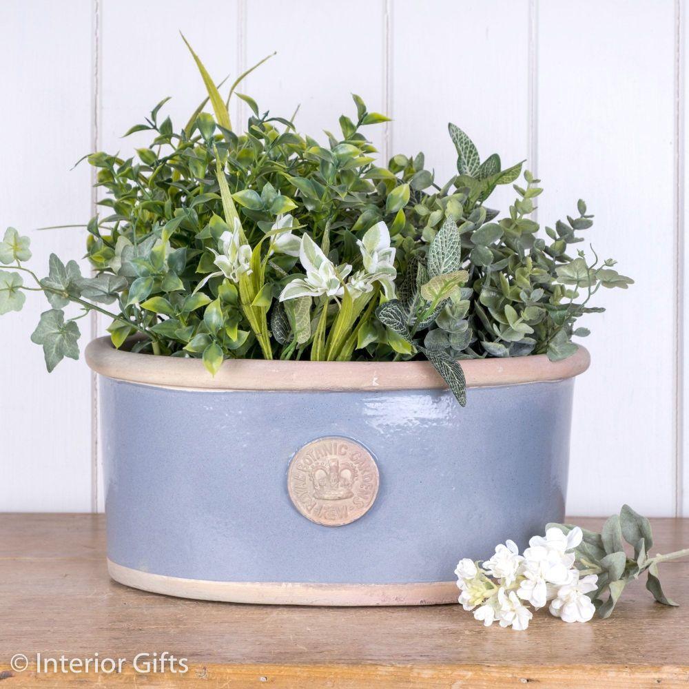 Kew Oval Planter in Manor Blue - Royal Botanic Gardens Plant Pot - Medium