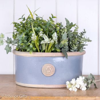 Kew Oval Planter in Manor Blue - Royal Botanic Gardens Plant Pot - Medium