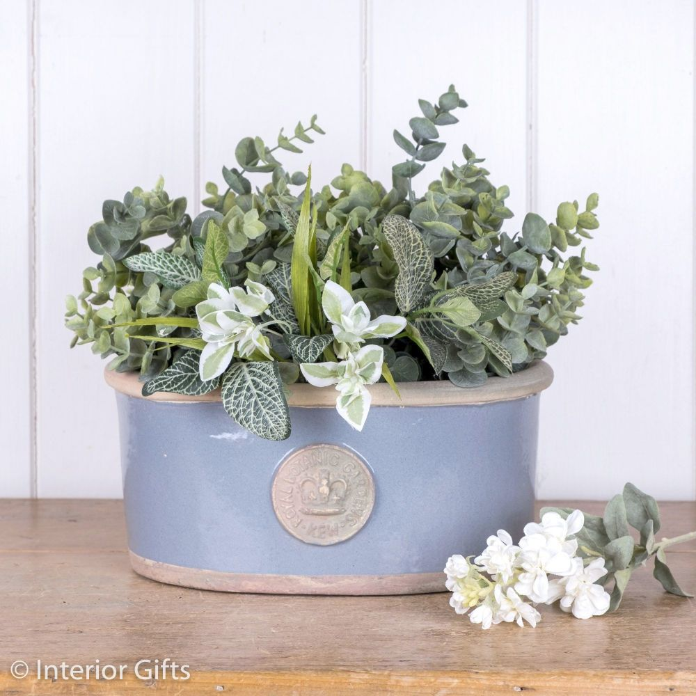 Kew Oval Planter in Manor Blue - Royal Botanic Gardens Plant Pot - Small