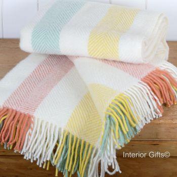 Tweedmill Herringbone Stripe Summer Cream Knee Rug or Small Blanket Pure New Wool