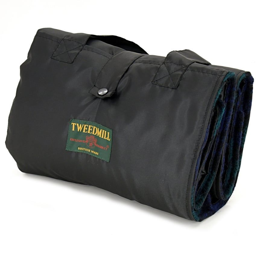 WATERPROOF Backed Wool Burghley Picnic Rug Country Tartan with Integral Car