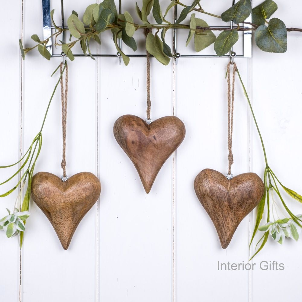Three Decorative Solid Natural Wooden Hanging Hearts - small
