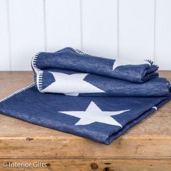 Navy Blue & Cream Supersoft Organic CottonStar Reversible Throw