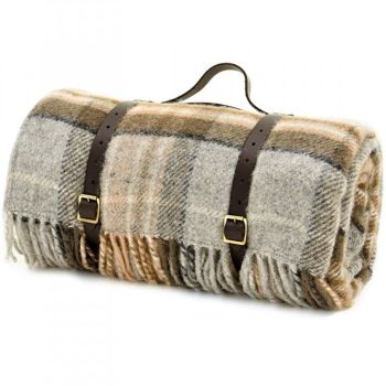 WATERPROOF Backed Wool Picnic Rug / Blanket in Country Silver Grey & Beige Check with Leather Carry Strap