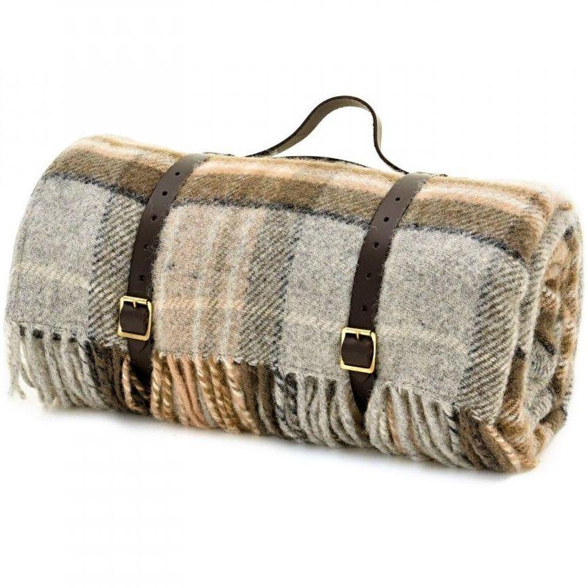 WATERPROOF Backed Wool Picnic Rug / Blanket in Country Silver Grey & Beige