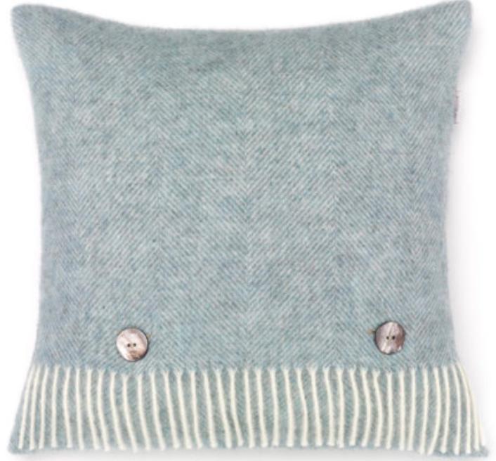 BRONTE by Moon Cushion - Herringbone Duck Egg Shetland Wool