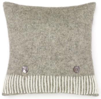 BRONTE by Moon Cushion - Herringbone Vintage Grey Shetland Wool