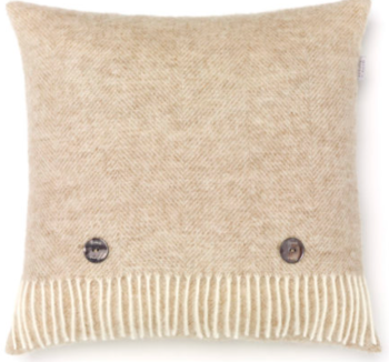BRONTE by Moon Cushion - Herringbone Natural Beige Shetland Wool