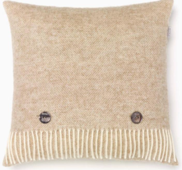 BRONTE by Moon Cushion - Herringbone Natural Beige Shetland Wool