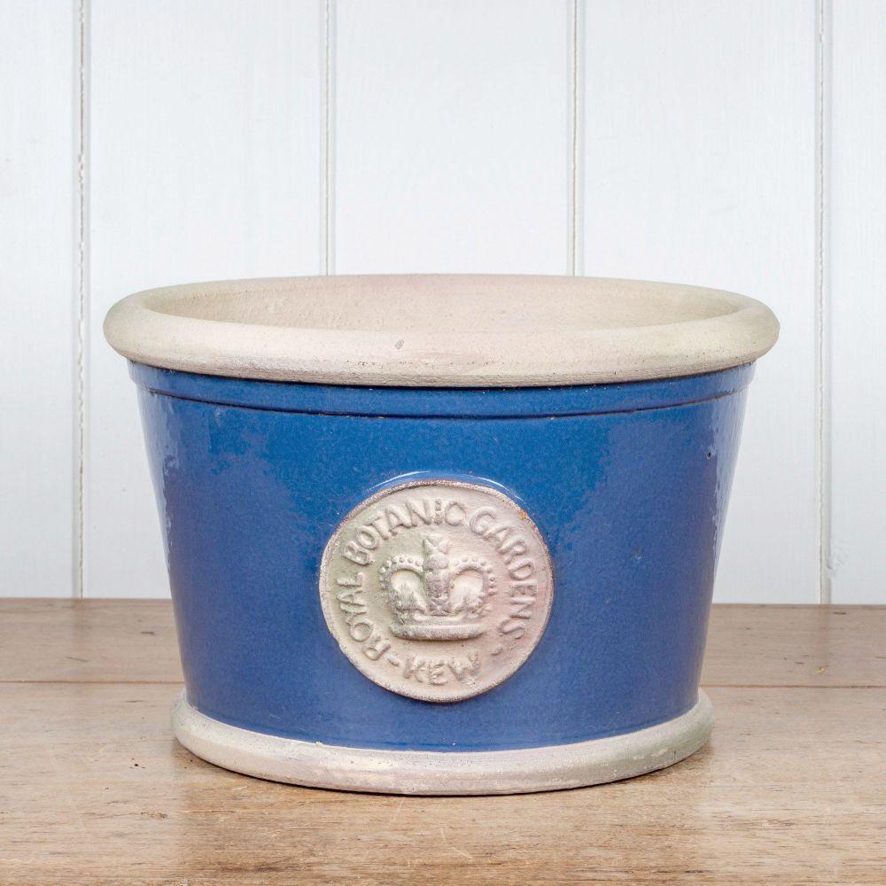 Kew Low Planter Pot Pitch Blue - Royal Botanic Gardens Plant Pot - Medium