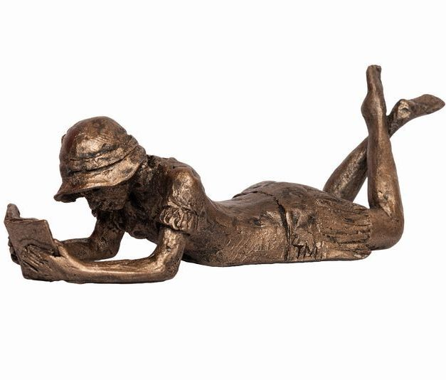 Virginia Girl Lying and reading Frith Bronze Sculpture