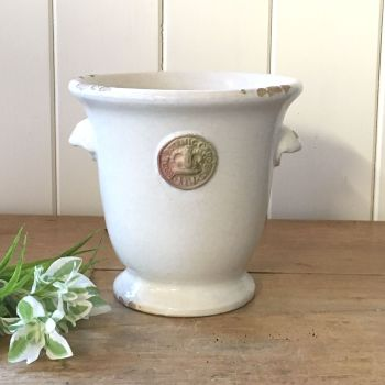 Kew Cachepot with Handles Bone White - Royal Botanic Gardens Plant Pot - Small