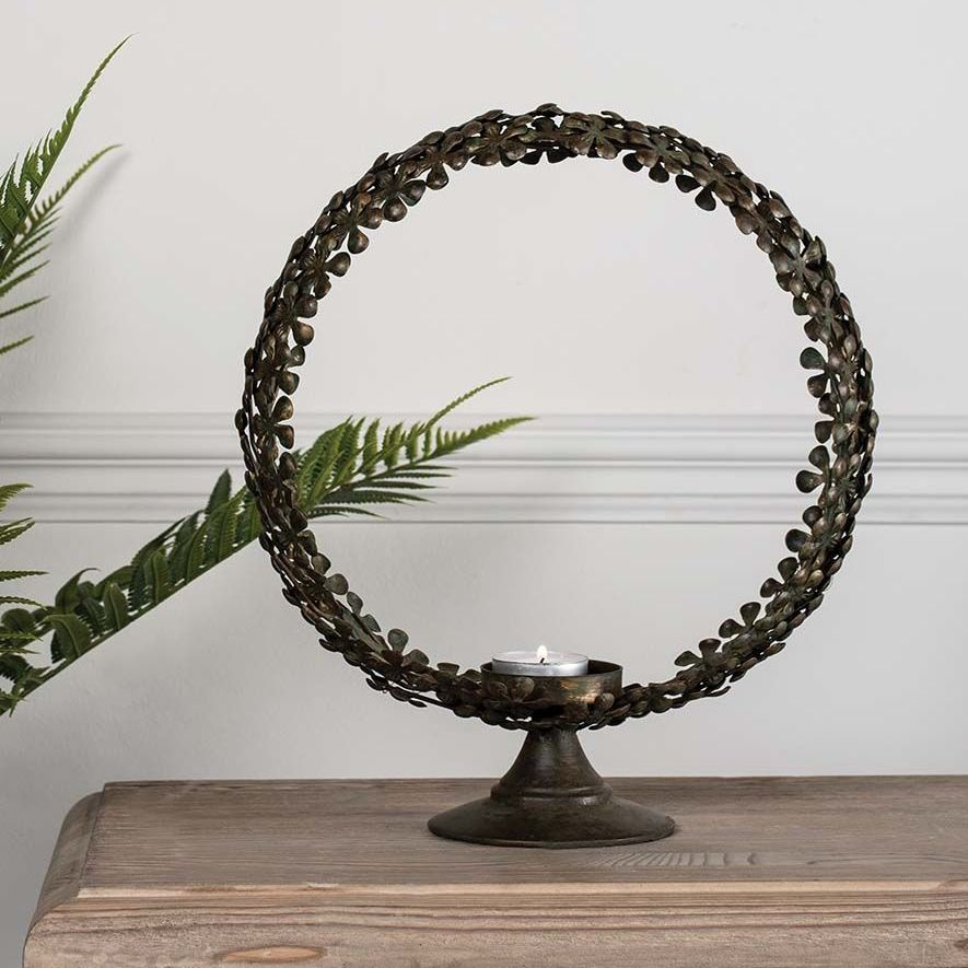 Circular Brass  Botanical Candle holder