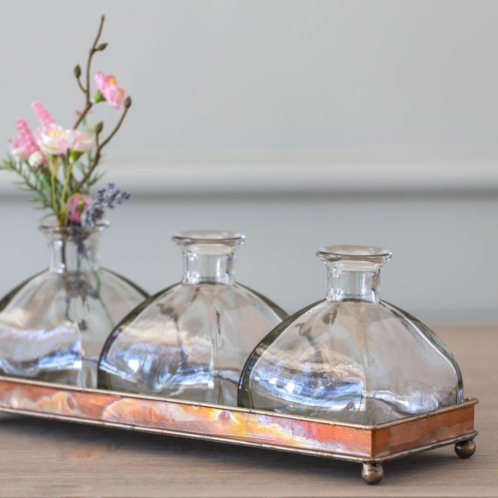 Set of three Flower Bottles  with Tray