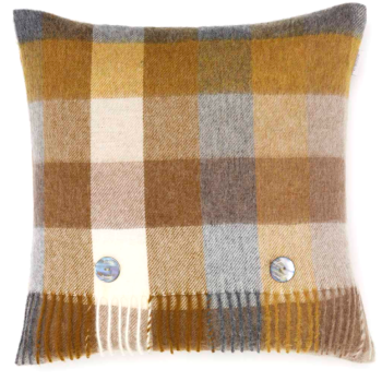 BRONTE by Moon Cushion - Harlequin Gold Check Merino Lambswool
