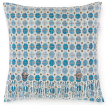 BRONTE by Moon Cushion - Aqua Milan Check Merino Lambswool