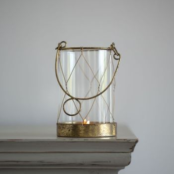 Glass Candle Holder in Rustic Vintage Gold with handle