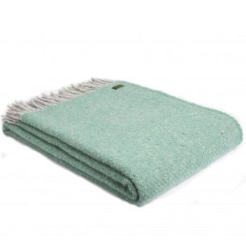 Tweedmill Sea Green Boa Pure New Wool  Large Throw Blanket