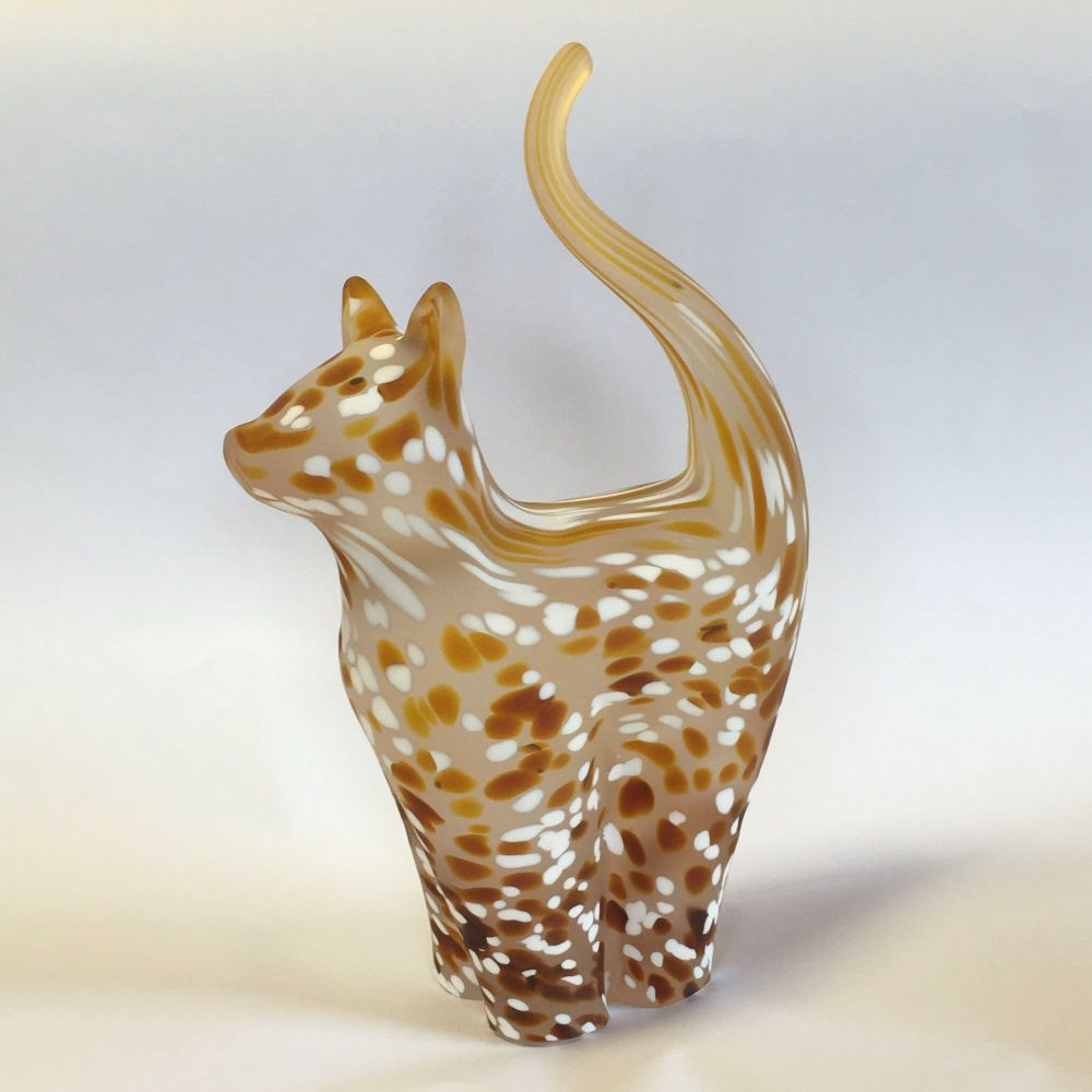 Glass Cat Sculpture Ginger Frosted Large - Handmade
