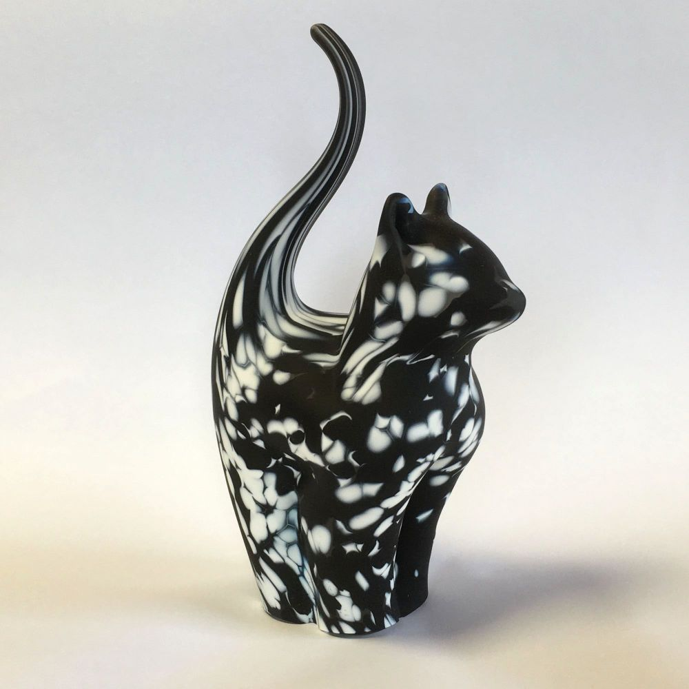 Glass Cat Sculpture Black & White Medium - Handmade