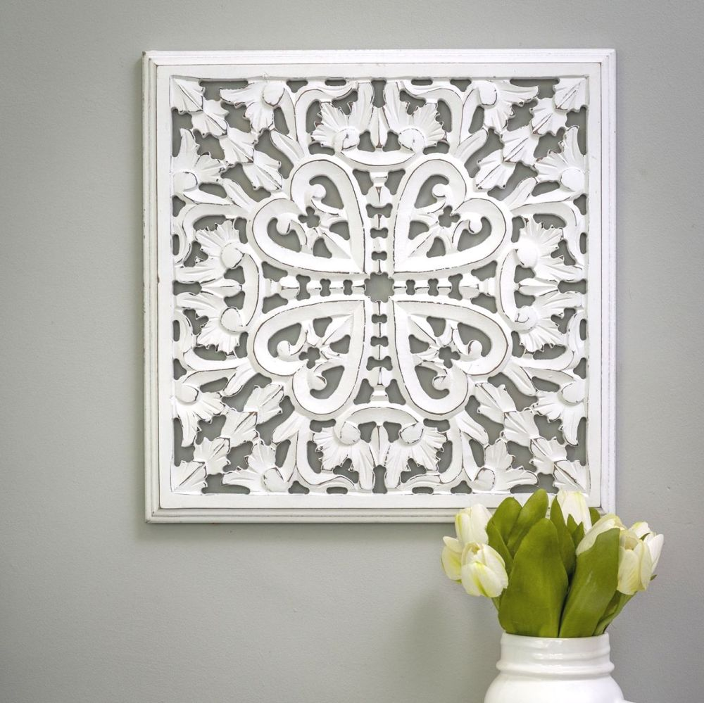 Hand Carved Decorative White Wooden Panel - Small