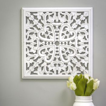 Hand Carved Decorative White Wooden Framed Edge Panel - Small