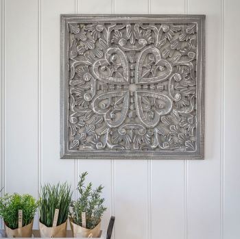 Hand Carved Decorative Grey Wooden Framed Edge Panel - Small