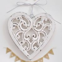 Two Small Carved White Wooden Hanging Hearts