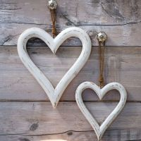 Pair of Decorative White Wooden Hanging Hearts - Large