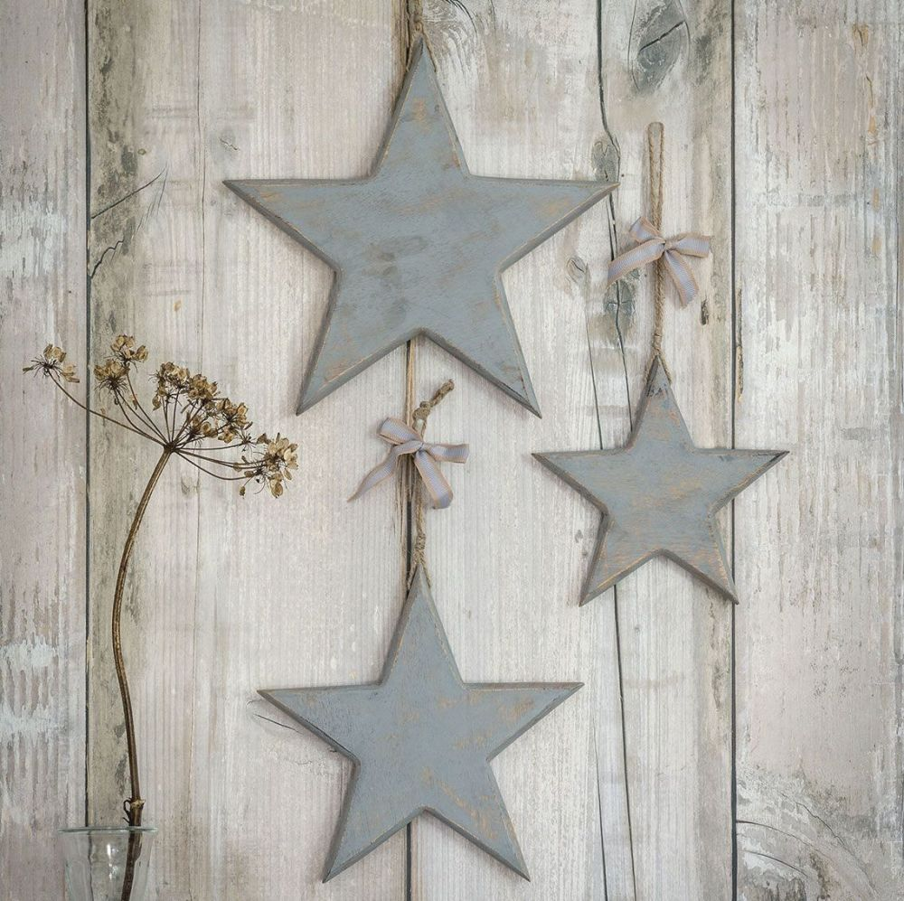 Three Decorative Large Grey Wooden Hanging Stars