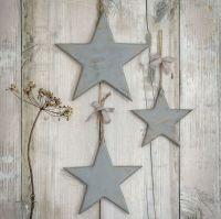 Three Decorative Grey Wooden Hanging Stars
