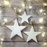 Three Decorative White Wooden Hanging Stars