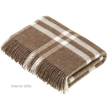 BRONTE by Moon Natural Windowpane Throw in Supersoft Merino Lambswool 'NEW'