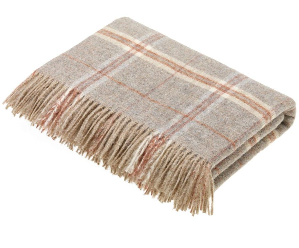BRONTE by Moon Beige Sandstone Windowpane Check Throw in 100% Shetland Wool