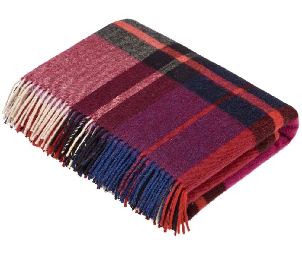 BRONTE by Moon Madison Mulberry Check Throw in Supersoft Merino Lambswool '