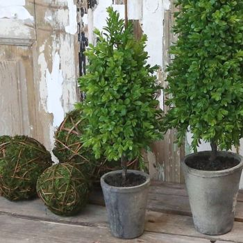 Faux Boxwood Topiary with Wooden Trunk  - 40 cm