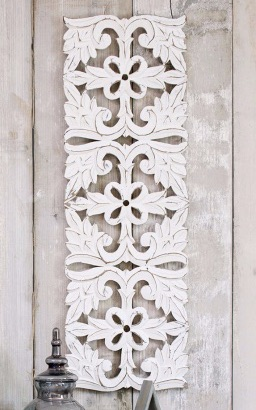 Hand Carved Decorative  Long Tall White Wooden Panel