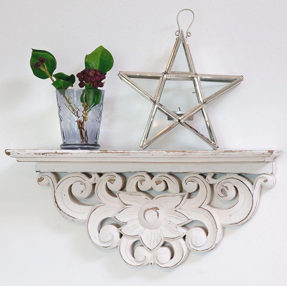 Hand-carved Decorative Wooden Shelf - 40 cm