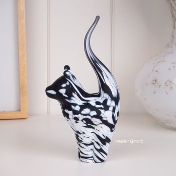 Glass Cat Sculpture Frosted White with Black Medium - Handmade