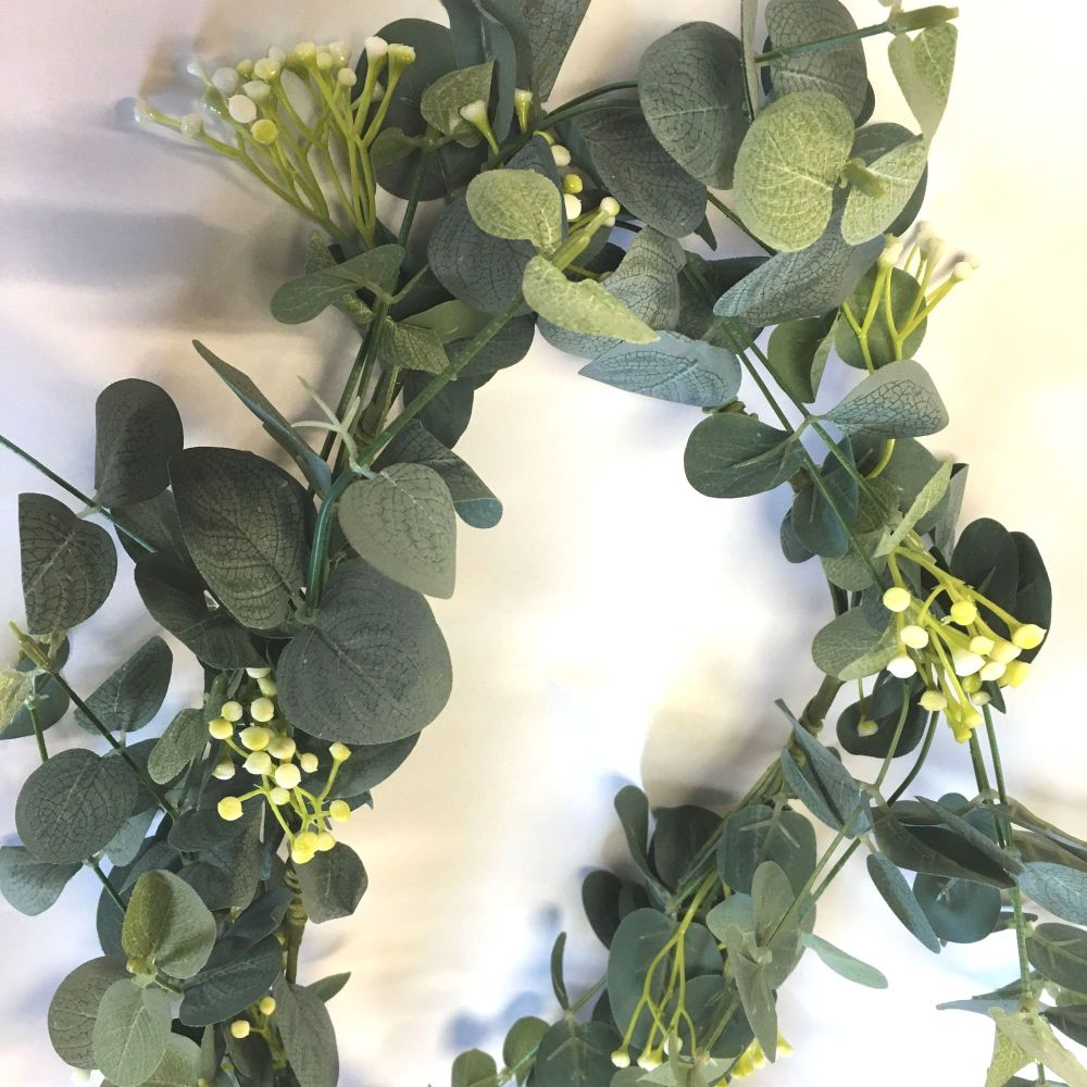 Faux Eucalyptus & White Flower Garland