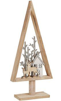 Rustic Wooden Reindeer in Christmas Tree Decoration - Archipelago