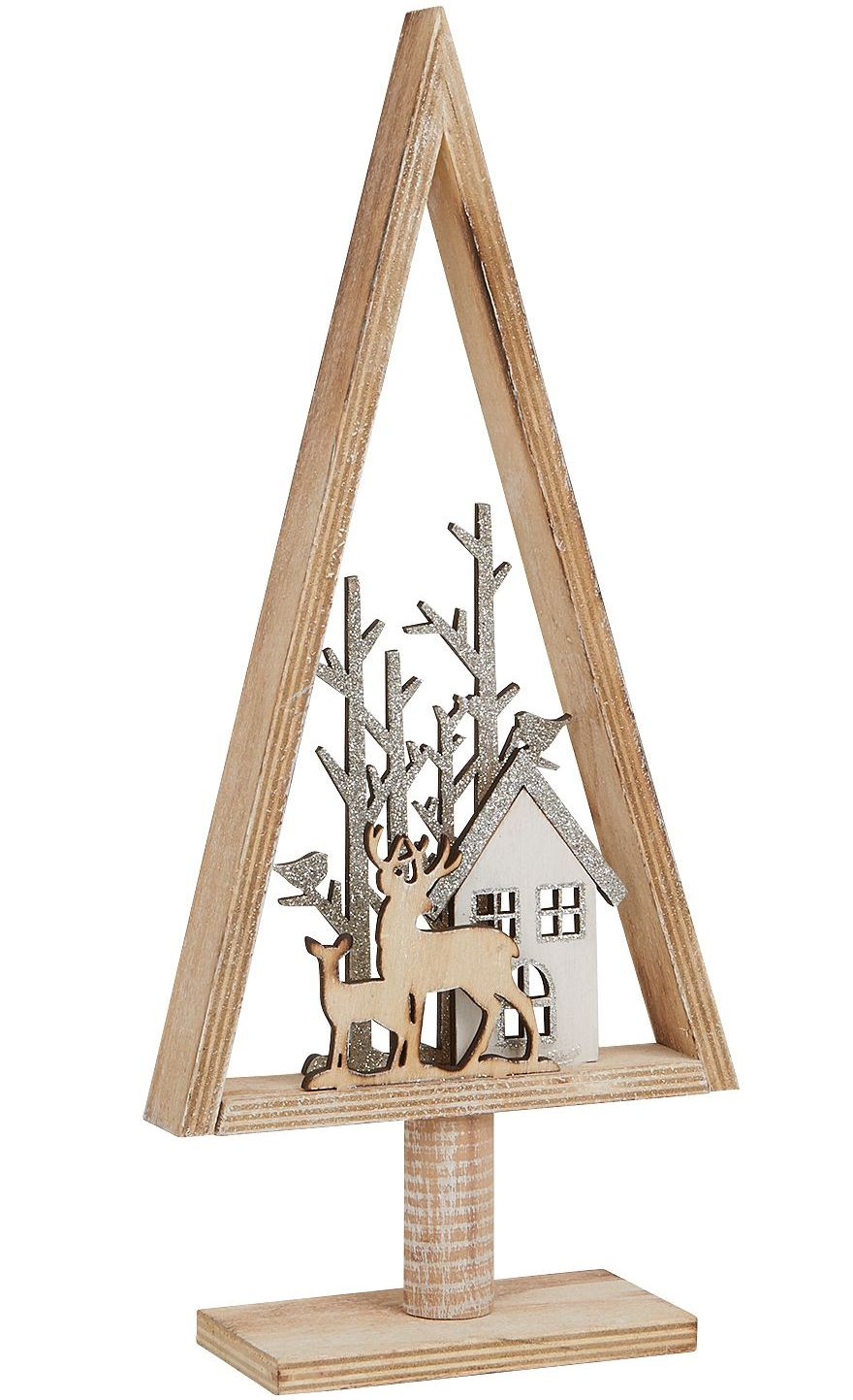 Christmas Reindeer In Rustic Wooden Christmas Tree By Archipelago Christmas Decoration Silver S1924