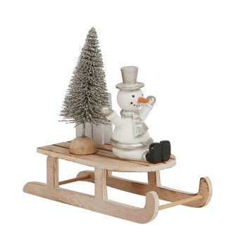 Snowman on Rustic Wooden Sleigh by Archipelago - Christmas Decoration
