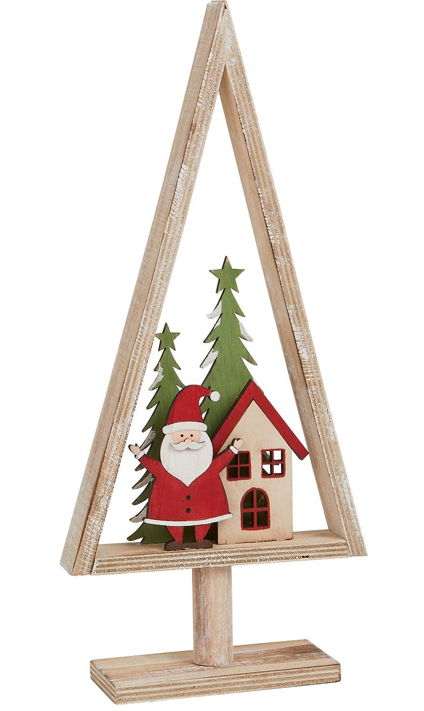 Christmas Santa In Rustic Wooden Christmas Tree By Archipelago Christmas Decoration Red And Green With Natural Wood S2023
