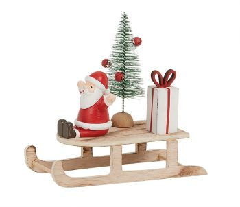 Red Santa on Rustic Wooden Sleigh by Archipelago - Christmas Decoration